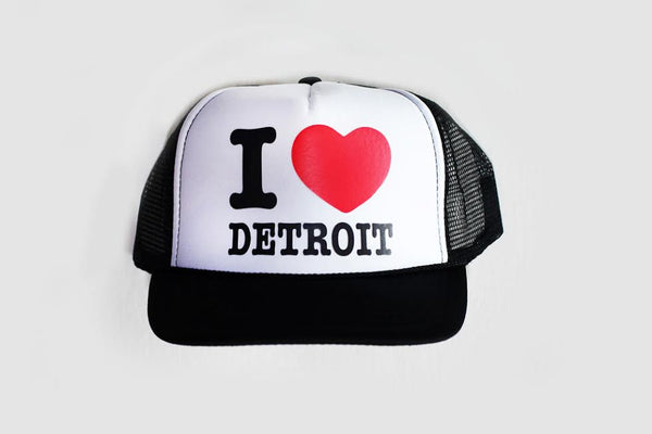 I Love Detroit Trucker Hat - White/Black