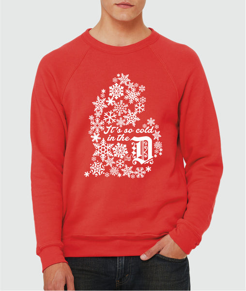 It's So Cold In The D - Unisex Sponge Crew Neck Sweatshirt - Red