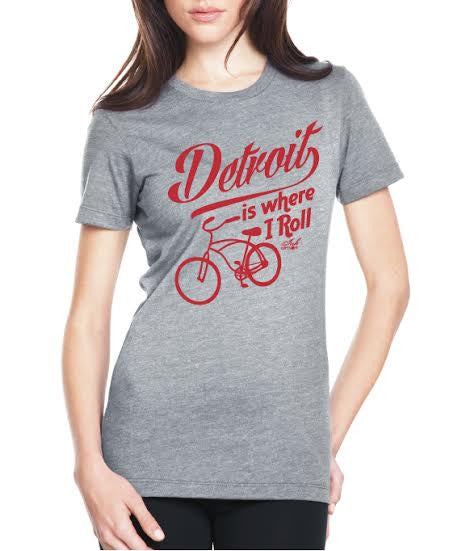 Detroit Is Where I Roll - Women's - T-Shirt - Heather Gray