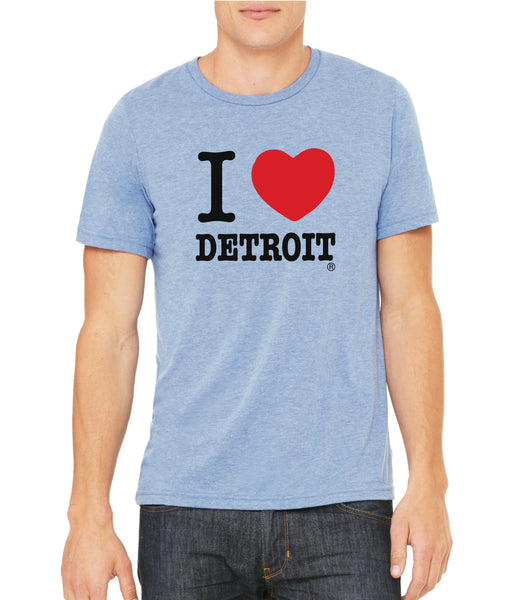 I Love Detroit - Blue - Tri-Blend T-Shirt
