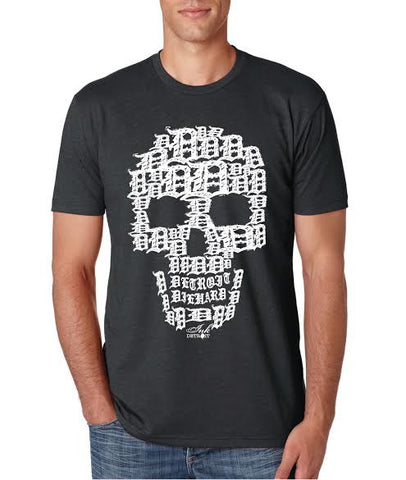 Detroit Skull - T-Shirt - Charcoal Grey with White