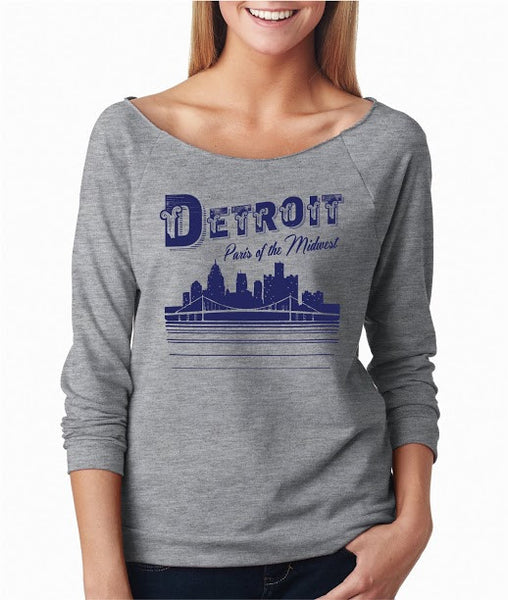 Detroit Paris of The Midwest - Raw Edge 3/4 Sleeve Raglan T-Shirt - Heather Grey