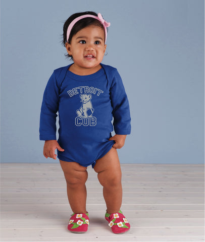 Detroit Cub Football - Long Sleeve Onesie - Royal Blue
