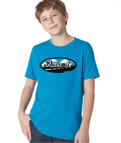 Road to Detroit - Kids T-Shirt - Turquoise Blue