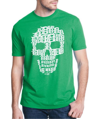 Detroit Skull - T-Shirt - Green with White