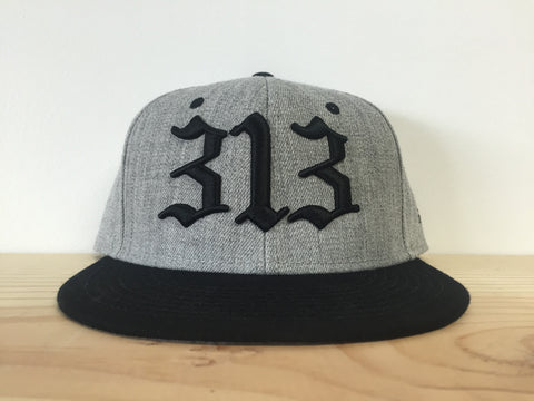 313 - Flat Bill Puff Print Snap Back Hat - Gray