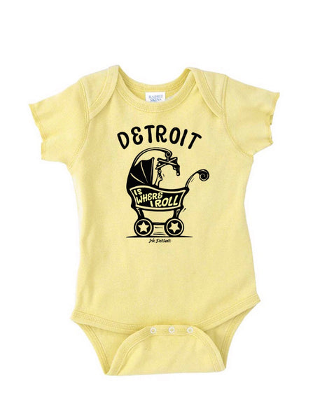Detroit Is Where I Roll Baby Carriage  - Onesie - Banana Cream