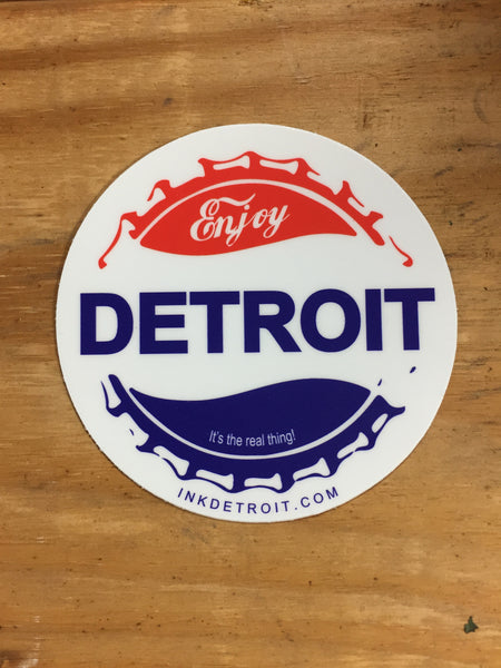 Enjoy Detroit Botttle Cap Die Cut bumper sticker