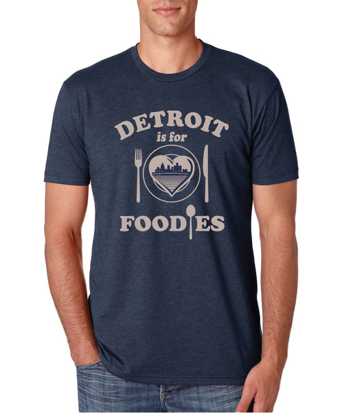 Detroit Is For Foodies - Navy - Tri-Blend T-Shirt