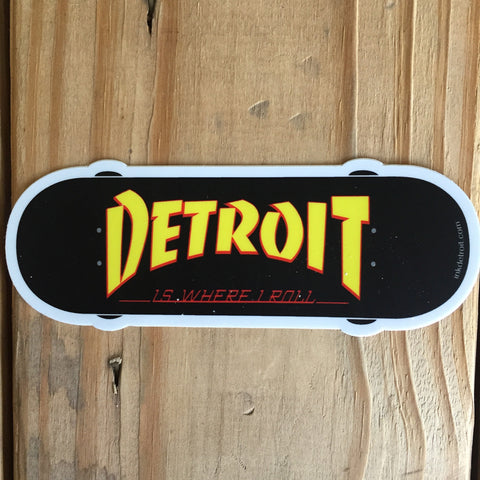"Detroit Is Where I Roll  5""x 2"" White Vinyl Die Cut bumper sticker"
