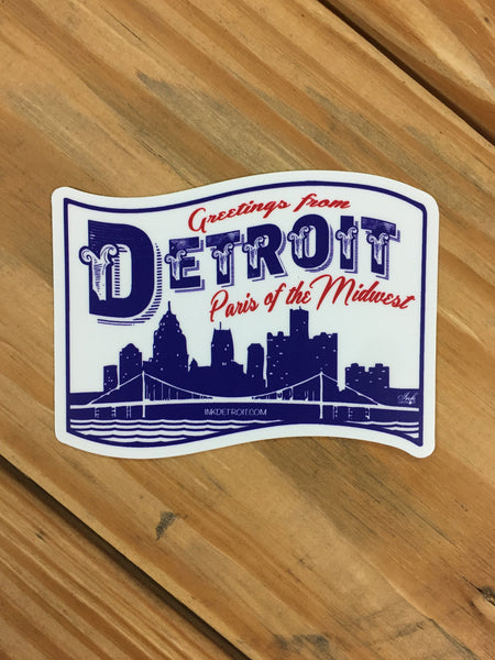 Detroit Paris of The Midwest Vinyl Die Cut bumper sticker