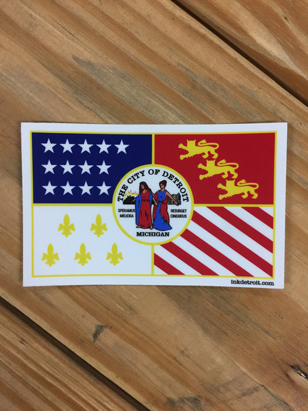 Detroit City Flag Vinyl bumper sticker