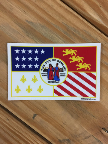 Detroit City Flag Vinyl Die Cut bumper sticker