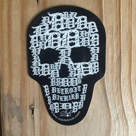 Detroit Skull Die Cut Bumper Sticker