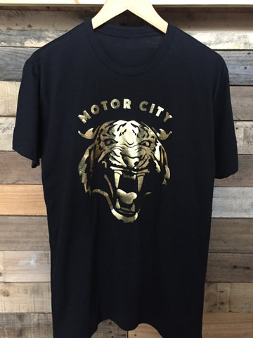 Motor City Cat - Short Sleeve T-Shirt Gold Foil Print