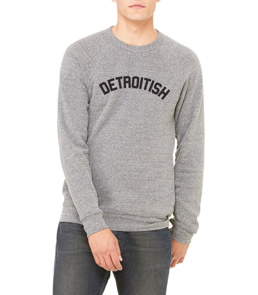 Detroitish - Unisex Sponge Crew Neck Sweatshirt - Heather Grey
