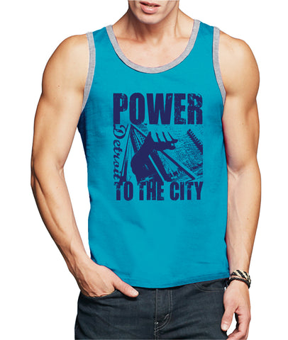 POWER TO THE CITY DETROIT TANK TOP - Men's - Carribean Blue