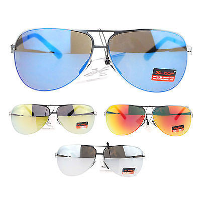 X Loop Luxury Sports Flexible Metal Color Mirror Lens Aviator Mens Sunglasses