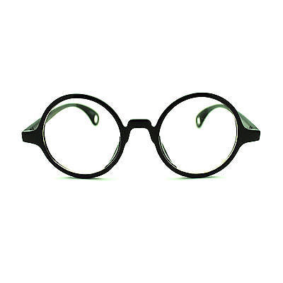 Black Retro Vintage Style Plastic Frame Circle Round Lens Clear Lens Eye Glasses