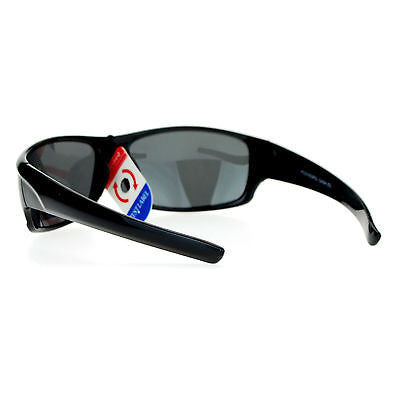 Anti Glare Polarized Lens Mens Classic Rectangular Warp Around Sports Sunglasses