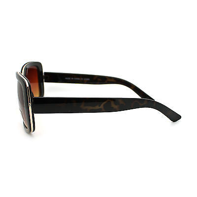 Womens Thick Plastic Metal Trim Rectangular Butterfly Mod Fashion Sunglasses