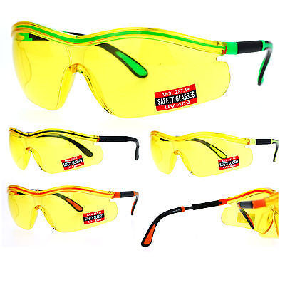 SA106 Yellow HD Lens Adjustable Arm UV Protection Rimless Warp Safety Glasses