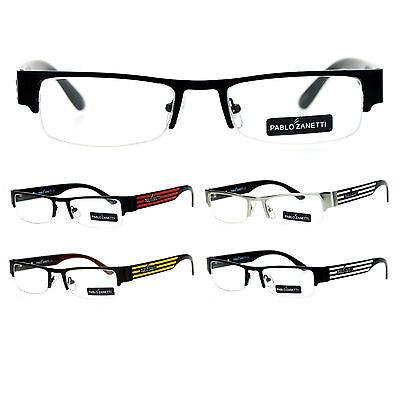 Pablo Zanetti Narrow Rectangular Half Exposed Lens Designer Fashion Eye Glasses