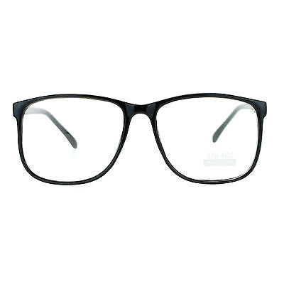 Black Large Nerdy Geek Old School Clear Lens Thin Horn Rim Eye Glasses Frame New