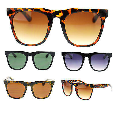 Unisex Retro Vintage Style Horn Rim Thick Brow Rectangular Fashion Sunglasses