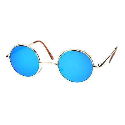 Retro Extra Small Snug Fit Round Circle Color Lens 70s Groovy Hippie Sunglasses
