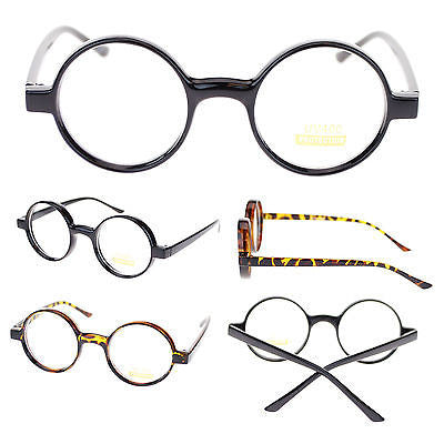 Unisex Retro Circle Lens Plastic Frame Round Clear Lens Optical Eye Glasses New