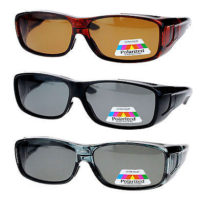 Antiglare Polarized Lens Rectangular 64mm Fitover Sunglasses