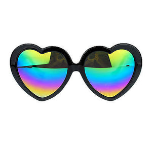 Womens Color Reflective Rusta Mirror Lens Plastic Frame Heart Shape Sunglasses