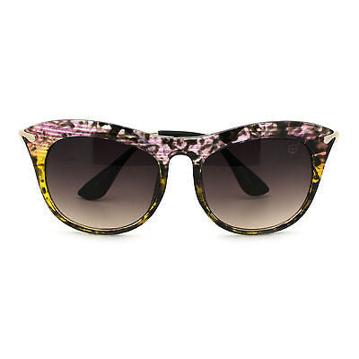 Womens Retro Brow Oversized Cat Eye Horn Rim Designer Fashion Diva Sunglasses