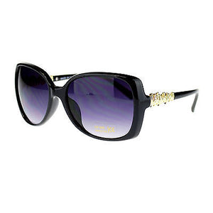 Womens Oversized Butterfly Metal Gold Nugget Rhinestone Diva Fashion Sunglasses