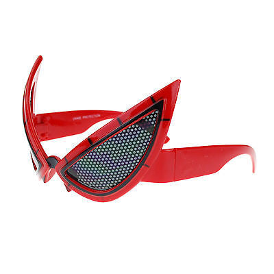 Red Novelty Party Shade Super Hero Mesh Lens Mask Warp Sunglasses