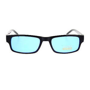 Mens New Small Face Snug Fit Color Lens Rectangular Plastic Frame Sunglasses