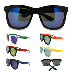 Retro 2 Tone Color Oversize Horn Rim Sunglasses with Mirror Color Lens