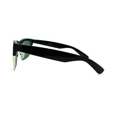 Mens Tampered Glass Lens Retro Half Rim Nerdy Geek Hipster Horn Sunglasses