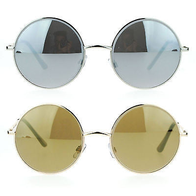 SA106 Beveled Edge Round Circle Lens Groovy Retro Celebrity Sunglasses