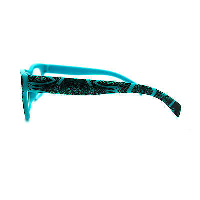 Sharpie Art Narrow Rectangular Graffiti Print Clear Lens Horn Rim Glasses