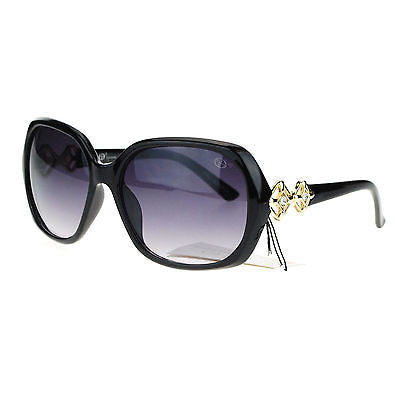 Womens Oversize Diva Luxury Metal Chain Hinge Rectangular Butterfly Sunglasses