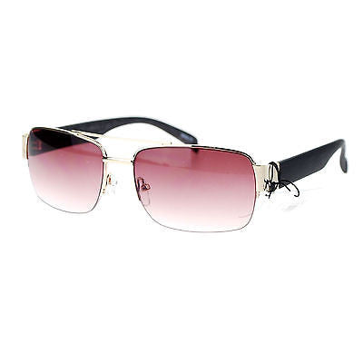 Mens Luxury Half Rim Rectangular Designer Fashion Sunglasses