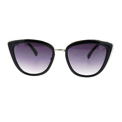 Diva Womens Rectangular Large Metal Bridge Plastic Cat Eye Oversized Sunglasses