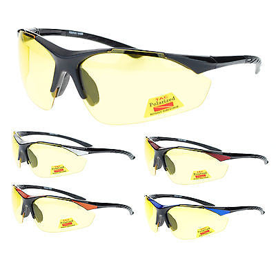 Mens Polarized Yellow Night Driving Lens Sport Baseball Half Rim Sunglasses