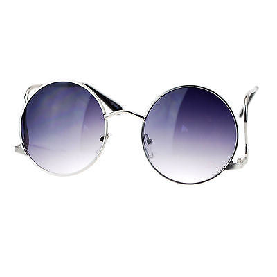 SA106 Womens Swan Drop Temple Retro Circle Round Lens Runway Sunglasses