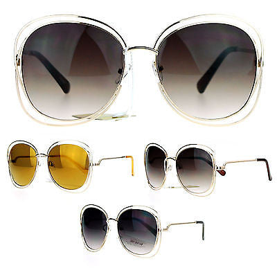 SA106 Double Scribble Rectangular Designer Fashion Metal Butterfly Sunglasses
