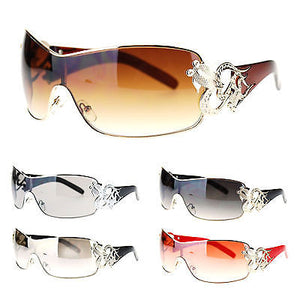Womens Coy Metal Jewel Designer Fashion Shield Warp Diva Sunglasses