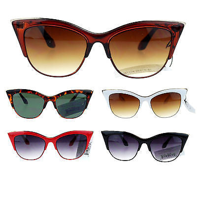 Womens High Point Squared Half Rim Look Cat Eye Retro Designer Sunglasses
