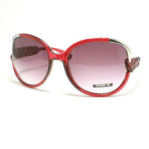 OVERSIZED Round Circle Womens Fashion Sunglasses Retro Braids BURGUNDY Red New